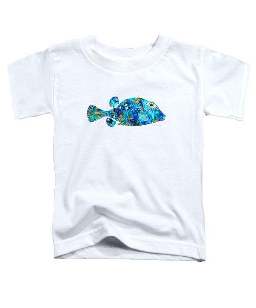 Blue Puffer Fish Art By Sharon Cummings Toddler T-Shirt by Sharon Cummings