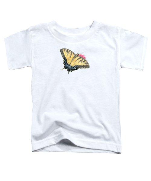 Swallowtail Butterfly And Zinnia- Transparent Backgroud Toddler T-Shirt