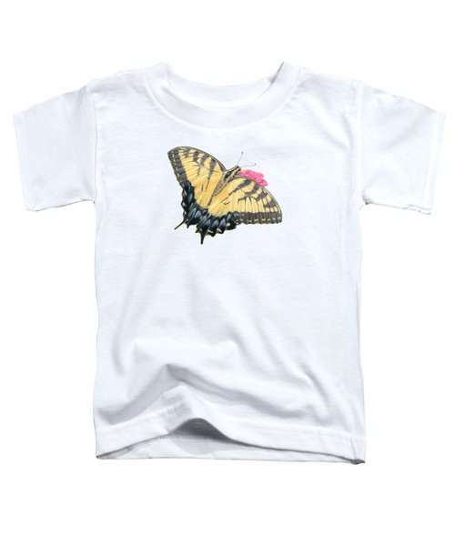 Swallowtail Butterfly And Zinnia- Transparent Backgroud Toddler T-Shirt