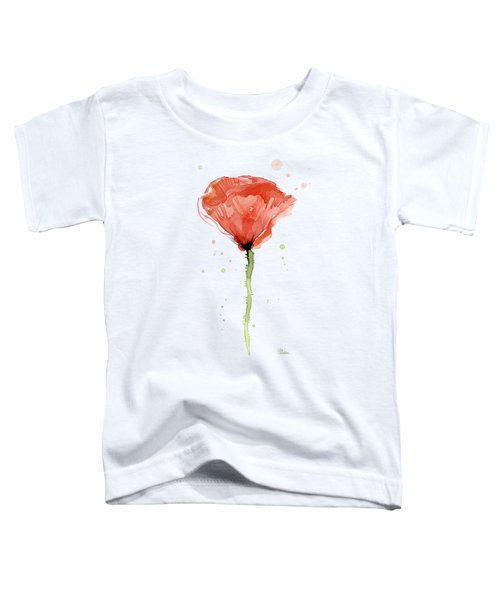 Abstract Red Poppy Watercolor Toddler T-Shirt