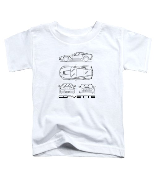 Corvette C7 Blueprint In White Toddler T-Shirt