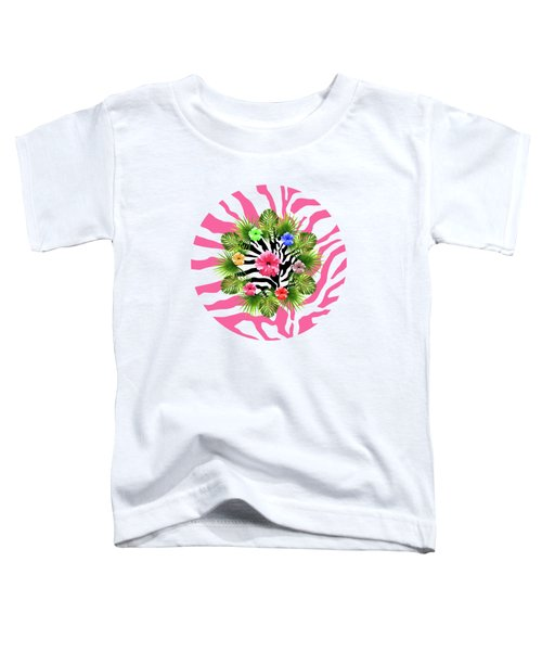 Tropical Hibiscus And Exotic Pink Zebra Stripes Toddler T-Shirt