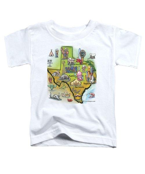 Texas Cartoon Map Toddler T-Shirt