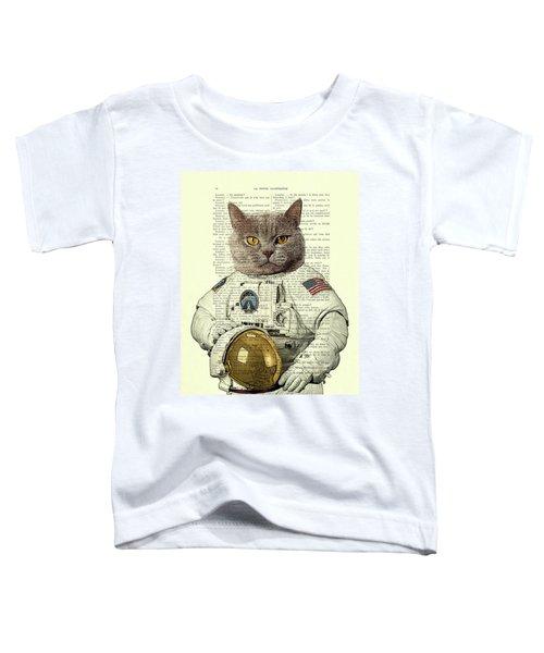 Astronaut Cat Illustration Toddler T-Shirt