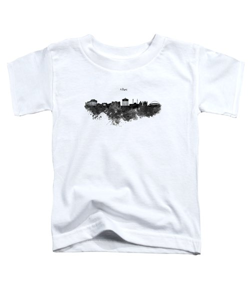 Athens Black And White Skyline Toddler T-Shirt by Marian Voicu