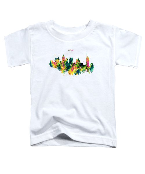 Atlanta Watercolor Skyline  Toddler T-Shirt by Marian Voicu