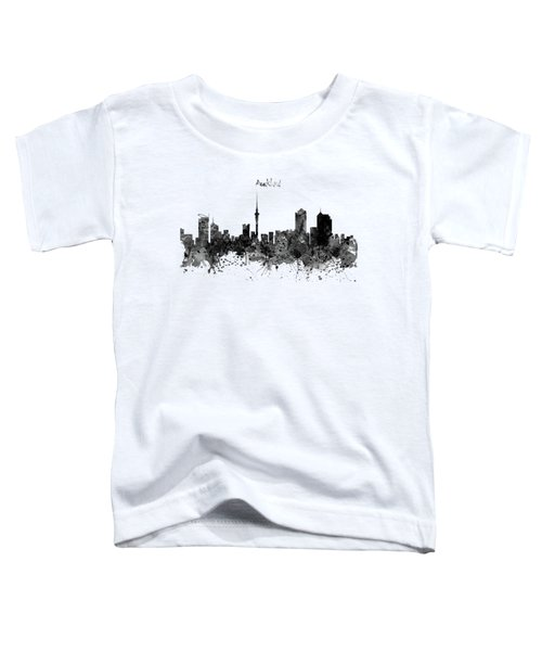 Auckland Black And White Watercolor Skyline Toddler T-Shirt