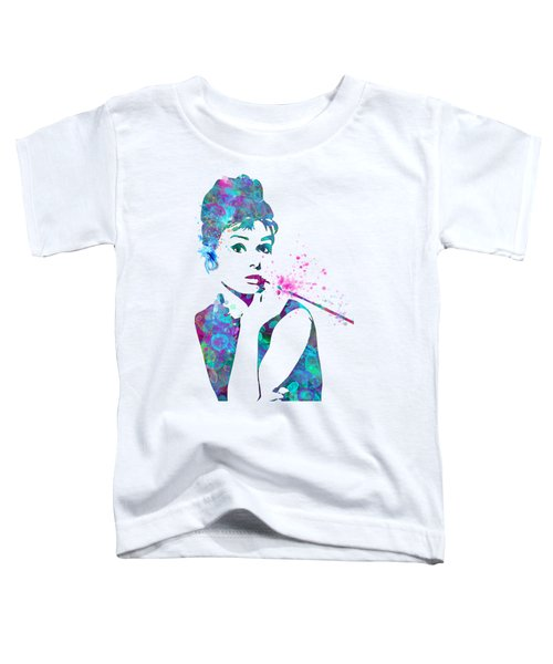 Audrey Hepburn Watercolor Pop Art  Toddler T-Shirt by Mary Alhadif