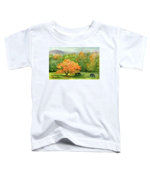 Autumn Maple With Horses Grazing Toddler T-Shirt