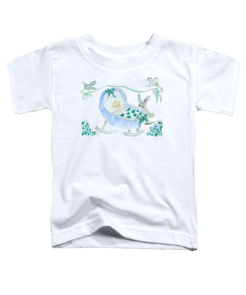 Baby Boy With Bunny And Birds Toddler T-Shirt