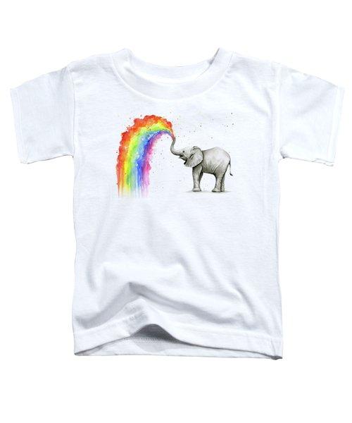 Baby Elephant Spraying Rainbow Toddler T-Shirt