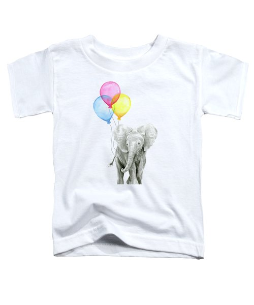 Baby Elephant With Baloons Toddler T-Shirt by Olga Shvartsur