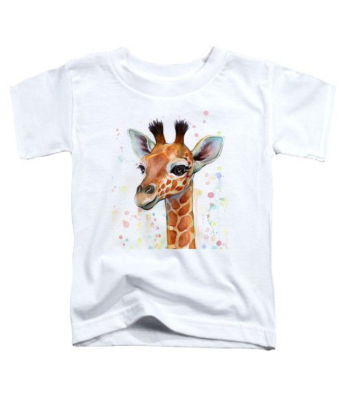 Baby Giraffe Watercolor  Toddler T-Shirt by Olga Shvartsur