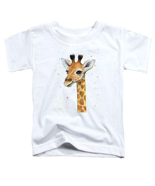 Baby Giraffe Watercolor With Heart Shaped Spots Toddler T-Shirt by Olga Shvartsur