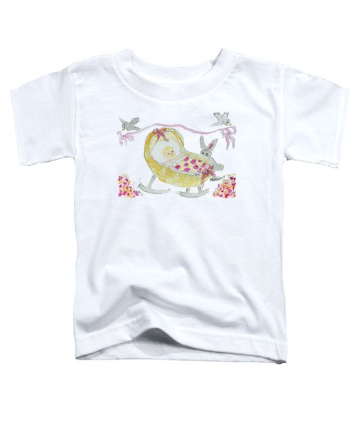 Baby Girl With Bunny And Birds Toddler T-Shirt