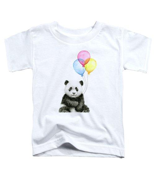 Baby Panda Watercolor With Balloons Toddler T-Shirt