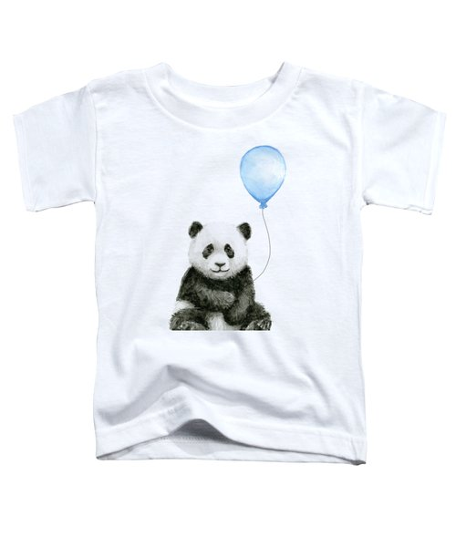 Baby Panda With Blue Balloon Watercolor Toddler T-Shirt