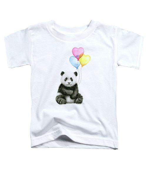 Baby Panda With Heart-shaped Balloons Toddler T-Shirt