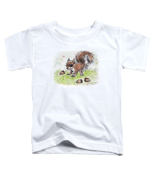 Baby Squirrel Toddler T-Shirt by Maria Bolton-Joubert