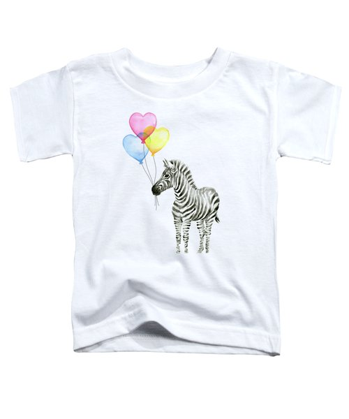 Baby Zebra Watercolor Animal With Balloons Toddler T-Shirt