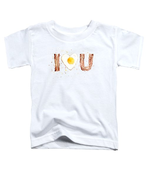 Bacon And Egg I Heart You Watercolor Toddler T-Shirt