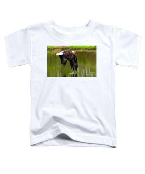 Bald Eagle Over A Pond Toddler T-Shirt