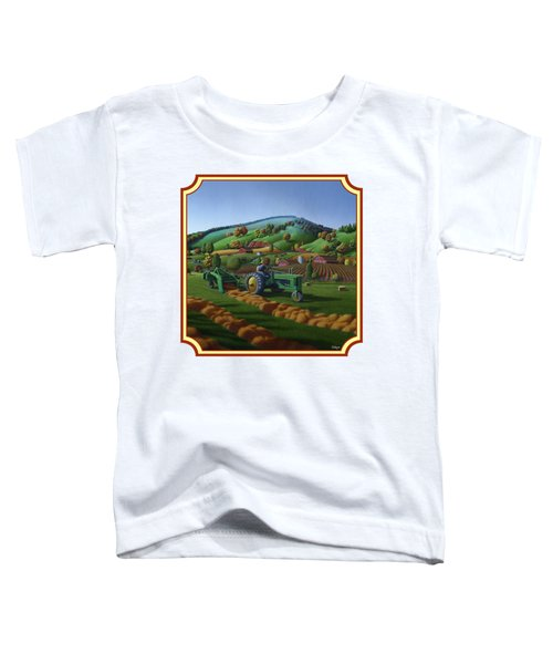 Baling Hay Field - John Deere Tractor - Farm Country Landscape Square Format Toddler T-Shirt