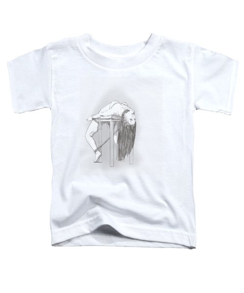 Toddler T-Shirt featuring the mixed media Bar Chair Bw by TortureLord Art