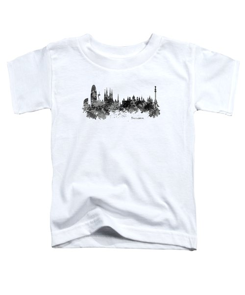 Barcelona Black And White Watercolor Skyline Toddler T-Shirt by Marian Voicu