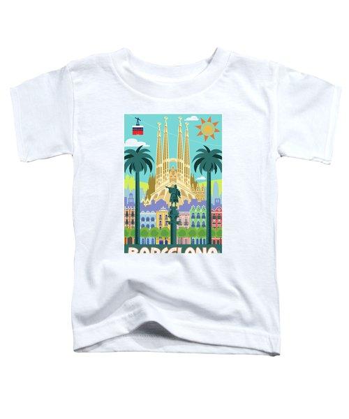 Barcelona Poster - Retro Travel  Toddler T-Shirt