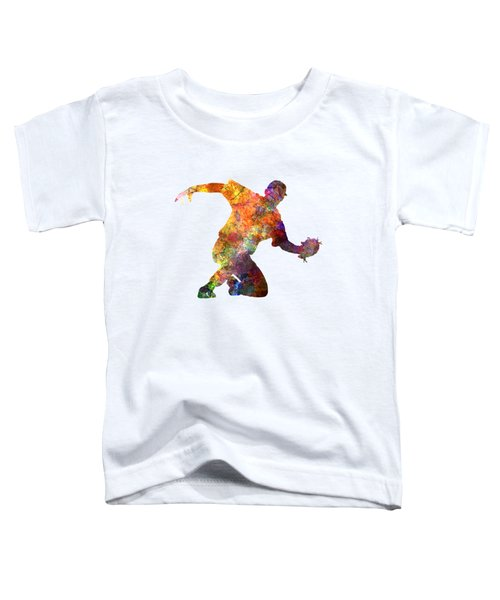 Baseball Player Catching A Ball Toddler T-Shirt by Pablo Romero