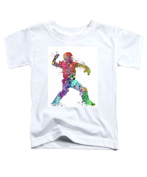 Baseball Softball Catcher 3 Watercolor Print Toddler T-Shirt