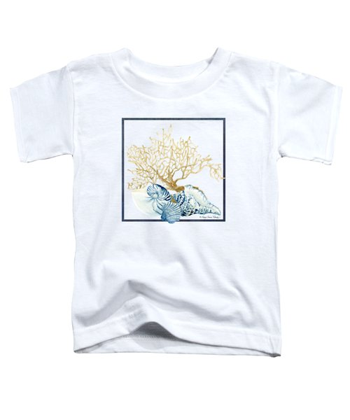 Beach House Nautilus Scallop N Conch With Tan Fan Coral Toddler T-Shirt by Audrey Jeanne Roberts