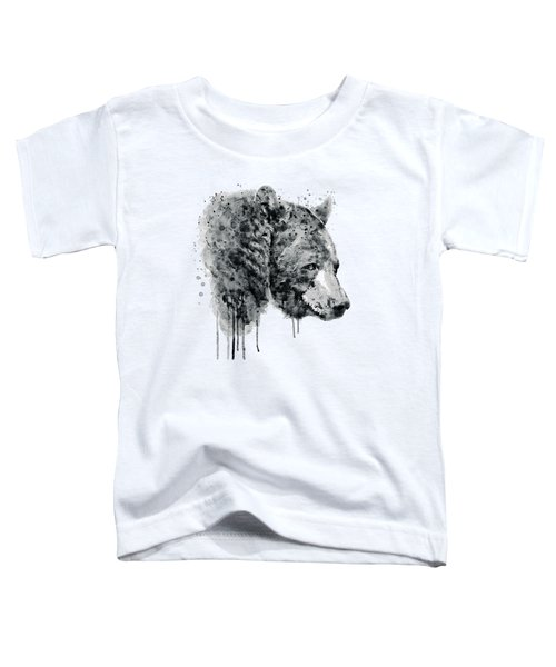Bear Head Black And White Toddler T-Shirt