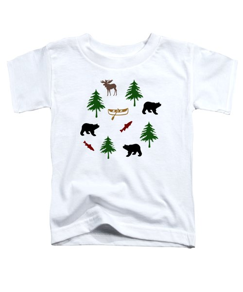 Toddler T-Shirt featuring the mixed media Bear Moose Pattern by Christina Rollo