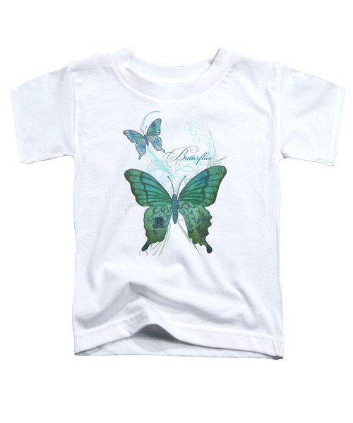 Beautiful Butterflies N Swirls Modern Style Toddler T-Shirt by Audrey Jeanne Roberts