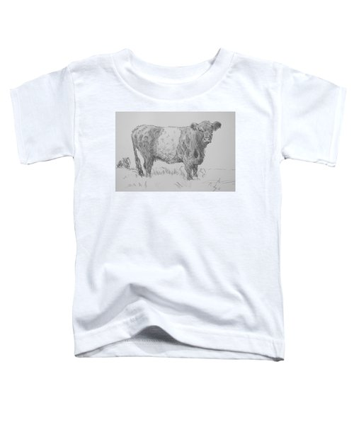 Belted Galloway Cow Pencil Drawing Toddler T-Shirt