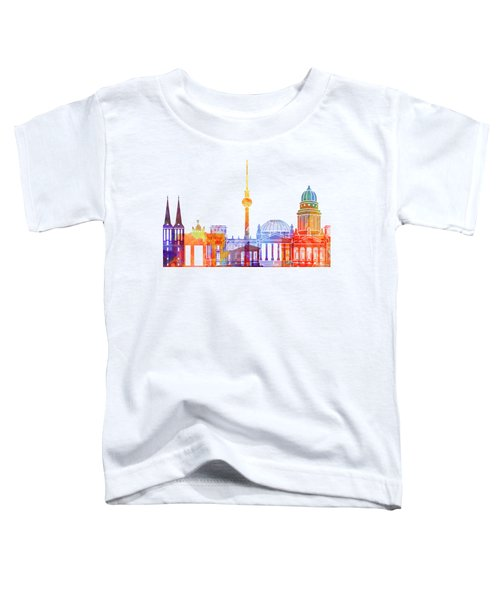 Berlin Landmarks Watercolor Poster Toddler T-Shirt by Pablo Romero