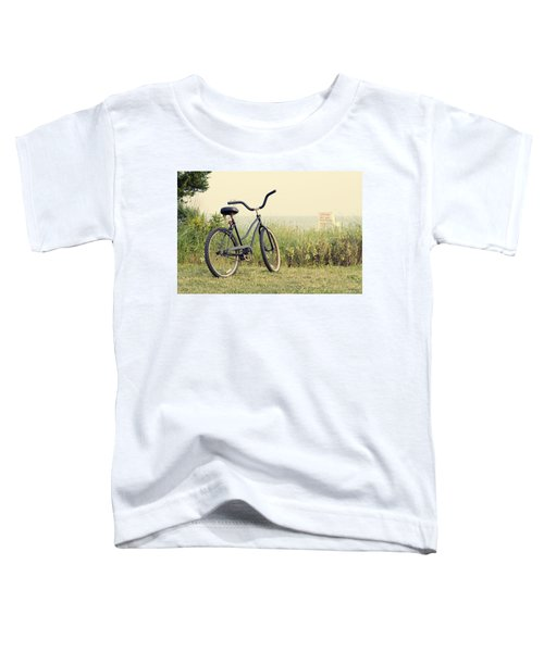Bicycle On Beach Summer's On The Coast Toddler T-Shirt