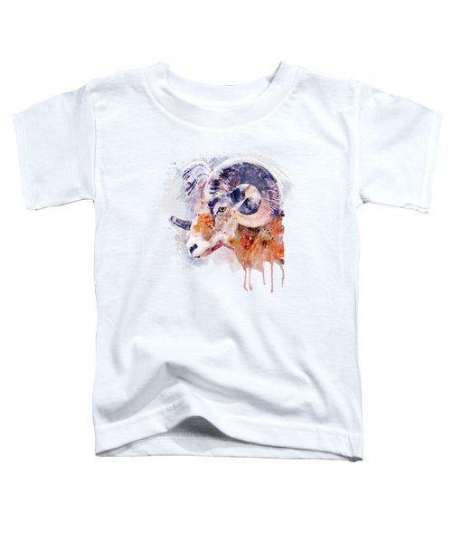 Bighorn Sheep Watercolor Portrait Toddler T-Shirt