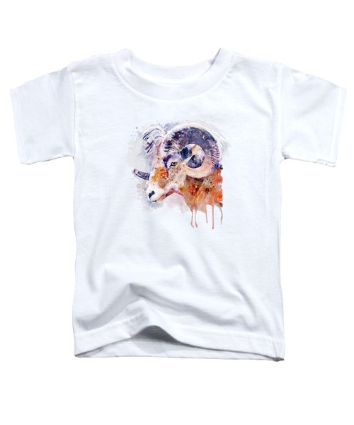 Bighorn Sheep Watercolor Portrait Toddler T-Shirt