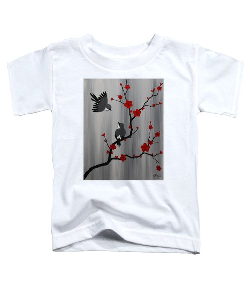 Birds And Blooms In Red Toddler T-Shirt