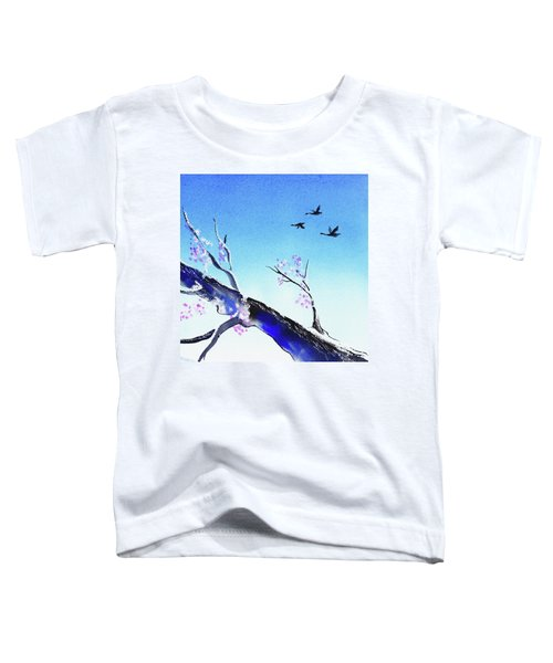 Birds In The Blue Sky Watercolor  Toddler T-Shirt