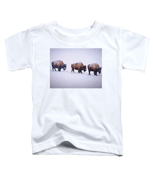 Toddler T-Shirt featuring the photograph Bison March Impressions by Greg Norrell
