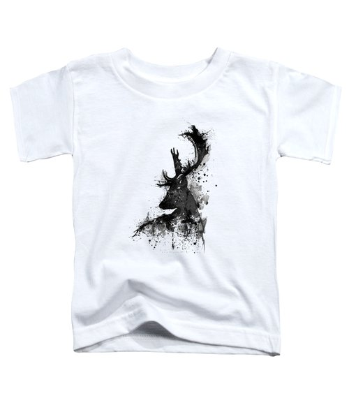 Black And White Deer Head Watercolor Silhouette Toddler T-Shirt
