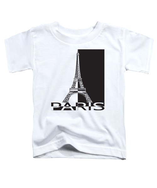 Black And White Eiffel Tower Toddler T-Shirt by Yurii Perepadia