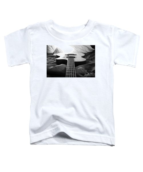 Toddler T-Shirt featuring the photograph Black And White Guitar by MGL Meiklejohn Graphics Licensing