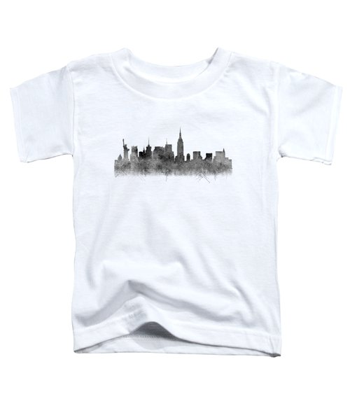 Toddler T-Shirt featuring the digital art Black And White New York Skylines Splashes And Reflections by Georgeta Blanaru
