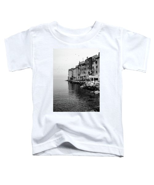 Black And White - Rovinj Venetian Buildings And Adriatic Sea, Istria, Croatia Toddler T-Shirt