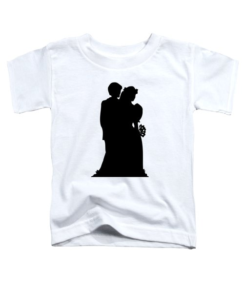 Black And White Silhouette Of A Bride And Groom Toddler T-Shirt